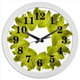 """Часы круглые из пластика """"Жизнерадостный оливковый"""" - цветы, часы, букет, декор, венок"""