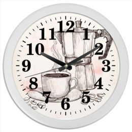 "Часы круглые из пластика ""Кофейник"" - кофе, кофейник, кофейный, чашка, заварник"