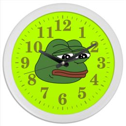 """Часы круглые из пластика """"Грустная лягушка"""" - мем, meme, грустная лягушка, sad frog, pepe frog"""