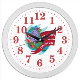 """Часы круглые из пластика """"1 мая"""" - праздник, цветы, 1 мая, весна, день труда"""