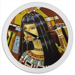 """Часы круглые из пластика """"Клеопатра """" - рисунок, египет, клеопатра"""