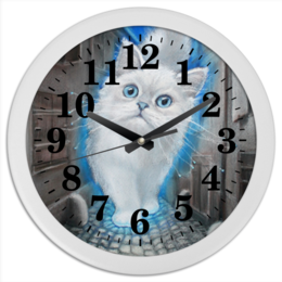 """Часы круглые из пластика """"ЛУННЫЙ КОТ"""" - кот, животные, рисунок, сказка"""