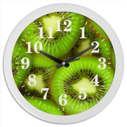 """Часы круглые из пластика """"Киви - это наслаждение"""" - фрукты, ягоды, киви"""