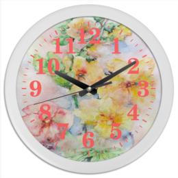 """Часы круглые из пластика """"Мальва. Букет"""" - цветок, желтый, оригинальный, акварель, нежный"""