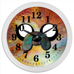 """Часы круглые из пластика """"Время приключений """" - арт, время приключений, adventure time, jake"""