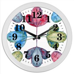 """Часы круглые из пластика """"Яркие листья."""" - акварель, лето, яркие литья, растение, листва"""