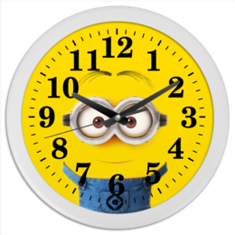 "Часы круглые из пластика ""Миньон"" - жёлтый, миньон, гадкий я, minion"