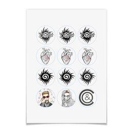 "Наклейки круглые 5x5см ""75 Days Stickers"" - rock, piano, 75days, 75daysband, alternatve"