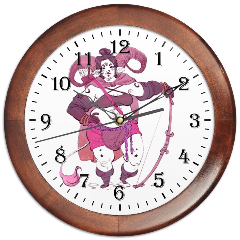 Часы круглые из дерева Printio Знак зодиака овен