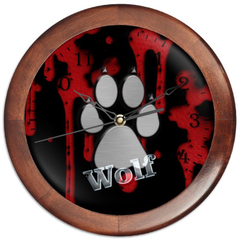 Часы круглые из дерева Printio Лапа волка часы круглые из дерева printio волк в лесу