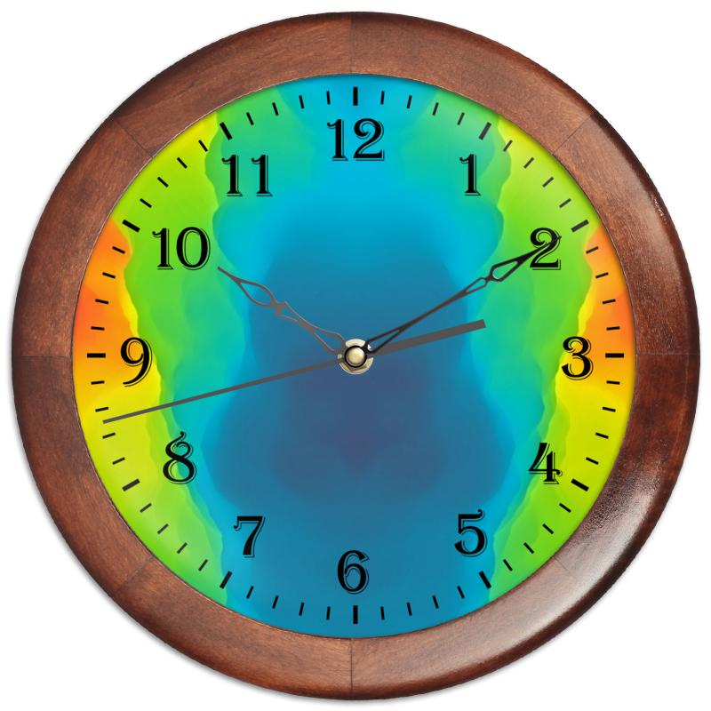 Часы круглые из дерева Printio Разводы красок