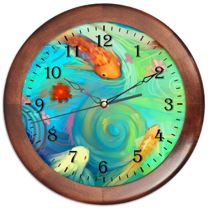 Часы круглые из дерева Printio Рыбки