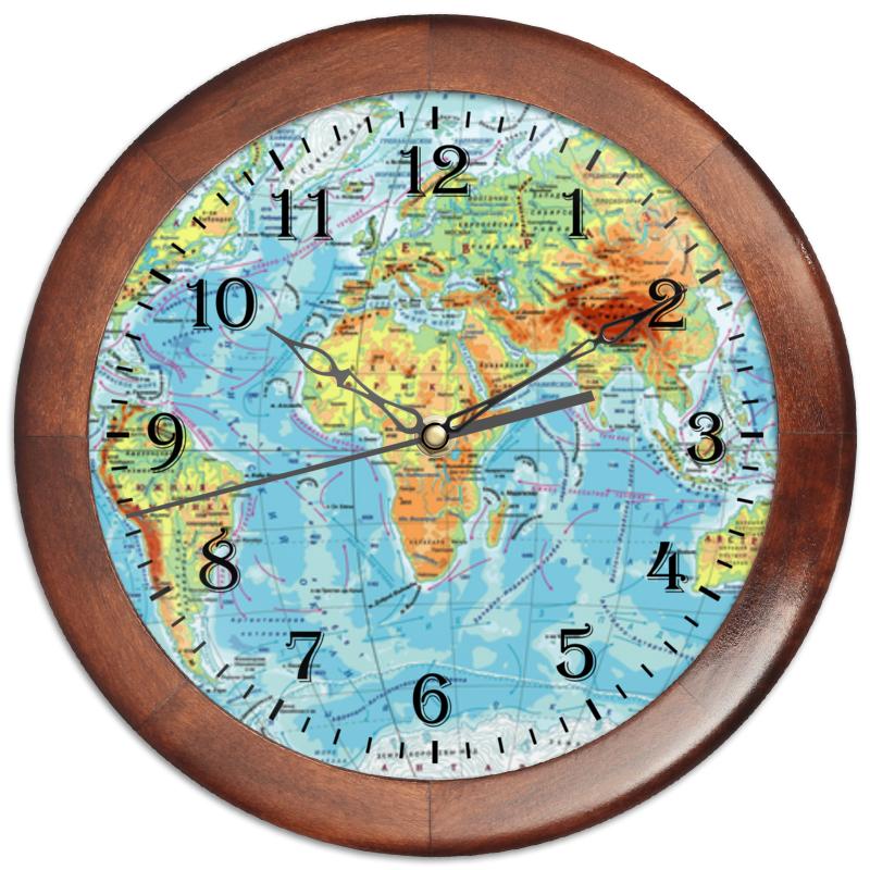 Часы круглые из дерева Printio Карта мира