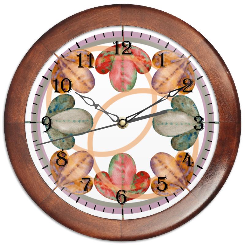 Часы круглые из дерева Printio Осенний лиственный узор. чехол для iphone 7 plus глянцевый printio осенний лиственный узор