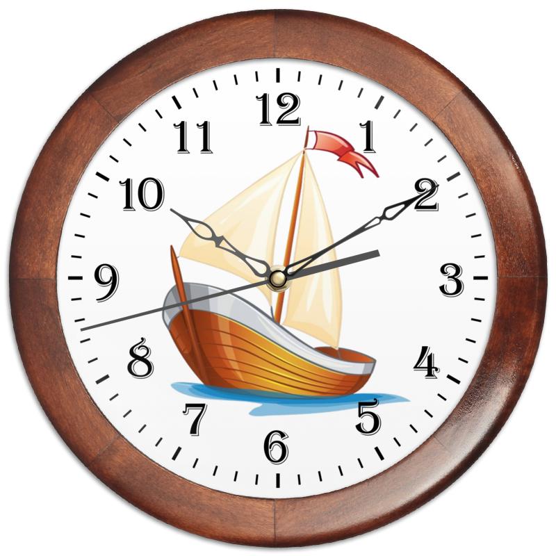 Часы круглые из дерева Printio Кораблик плывущий по волнам. [супермаркет] джингдонг грин серия тростника zakka твердого дерева ящик для хранения с замком небольшой деревянный старый цвет дерева
