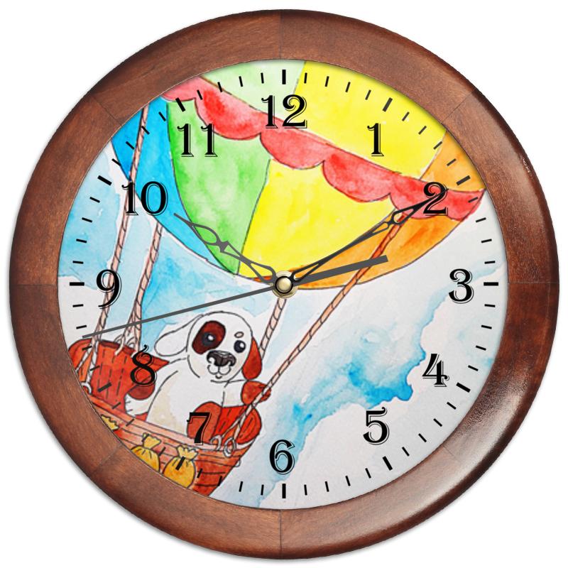 Часы круглые из дерева Printio Щенок на шаре