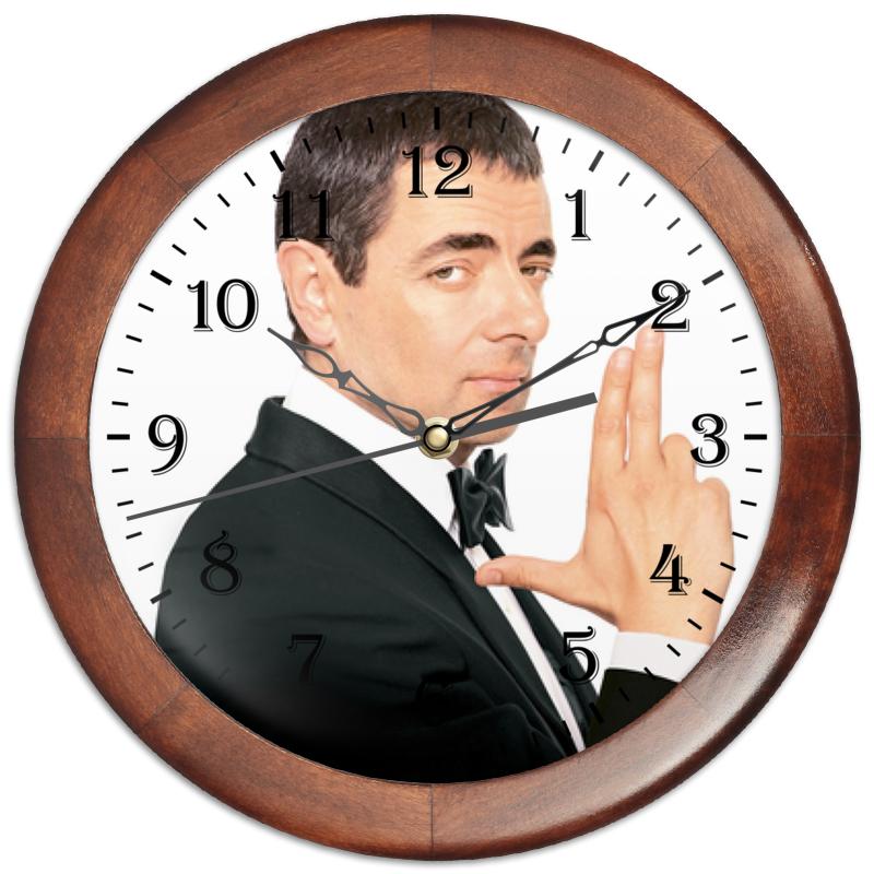 Часы круглые из дерева Printio Роуэн аткинсон