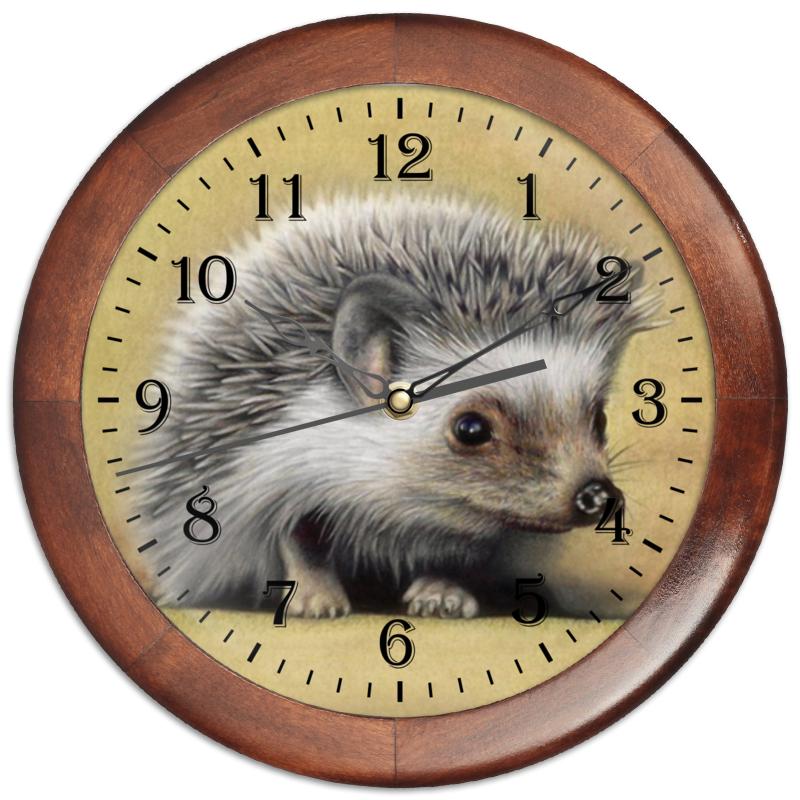 Часы круглые из дерева Printio Лесной ёжик
