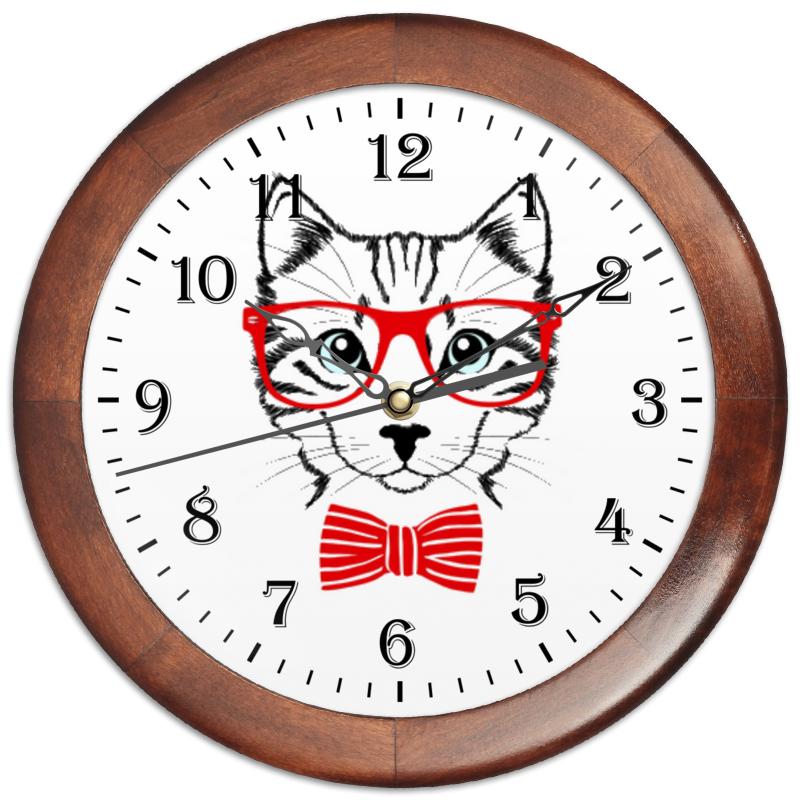 Часы круглые из дерева Printio Кошка часы круглые из дерева printio трус балбес бывалый 1