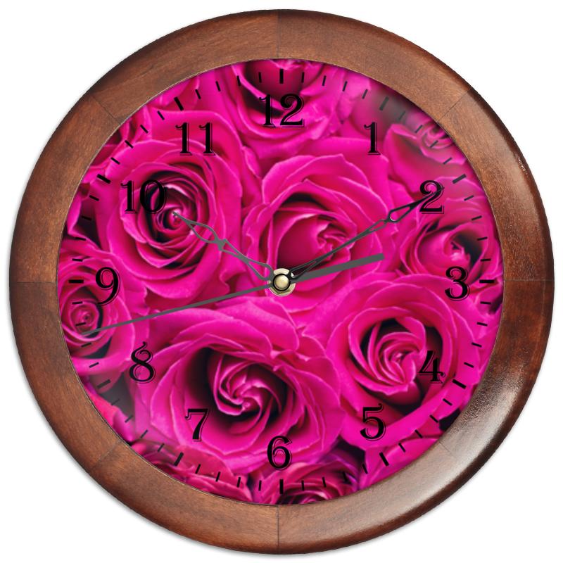 Часы круглые из дерева Printio Pink roses