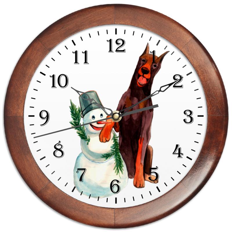 Часы круглые из дерева Printio Забавная акварельная собака, символ 2018 года