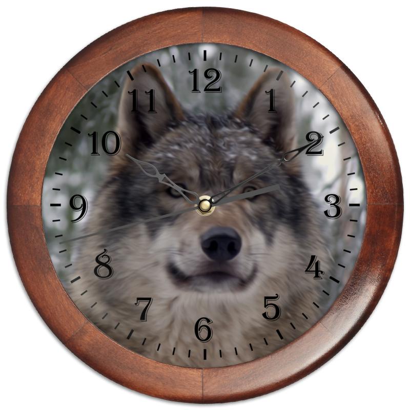 Часы круглые из дерева Printio Волк в лесу чехол для ноутбука 14 printio волк в лесу