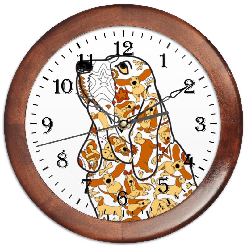 Часы круглые из дерева Printio Смешная собака бассет купить щенкак в донецке бассет