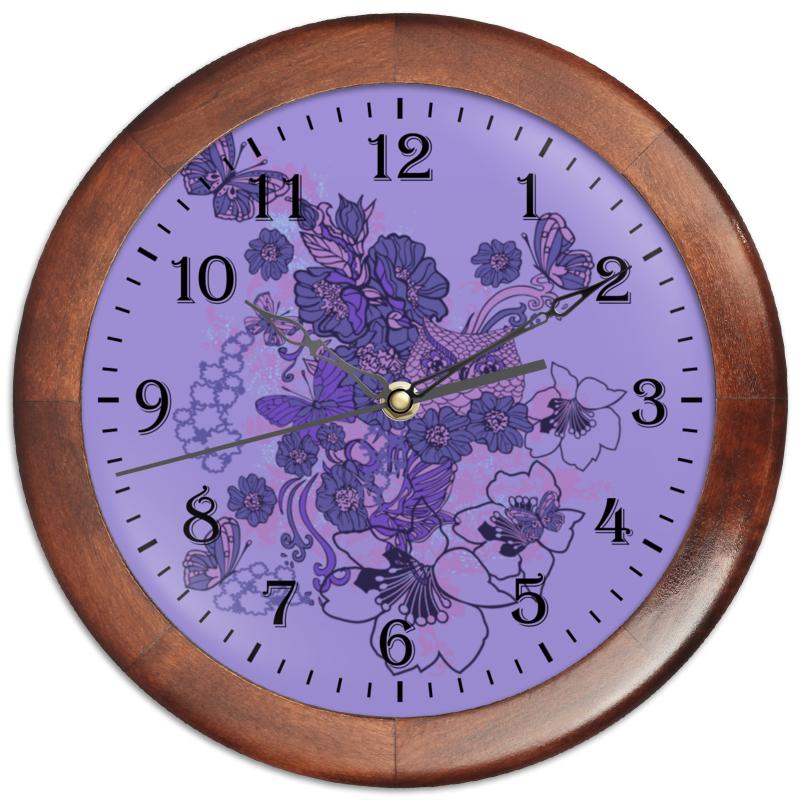 Часы круглые из дерева Printio Сова в цветах чехол для ноутбука 12 printio сова в цветах