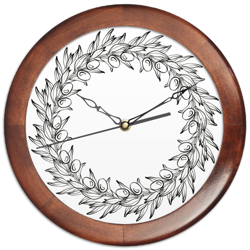 Часы круглые из дерева Printio Оливковый венок