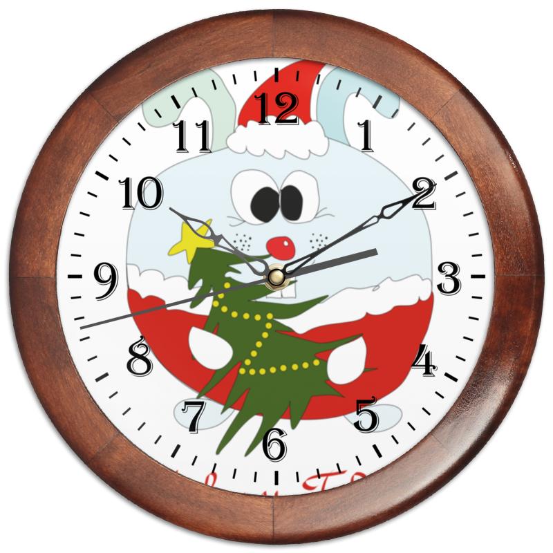 Часы круглые из дерева Printio Новогодний заяц конфеты круглые с ромом купить в иркутске
