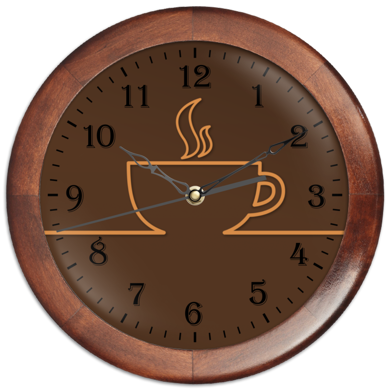 Часы круглые из дерева Printio Кофе тайм / coffee time