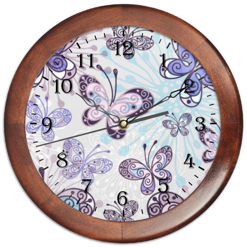 Часы круглые из дерева Printio Фиолетовые бабочки