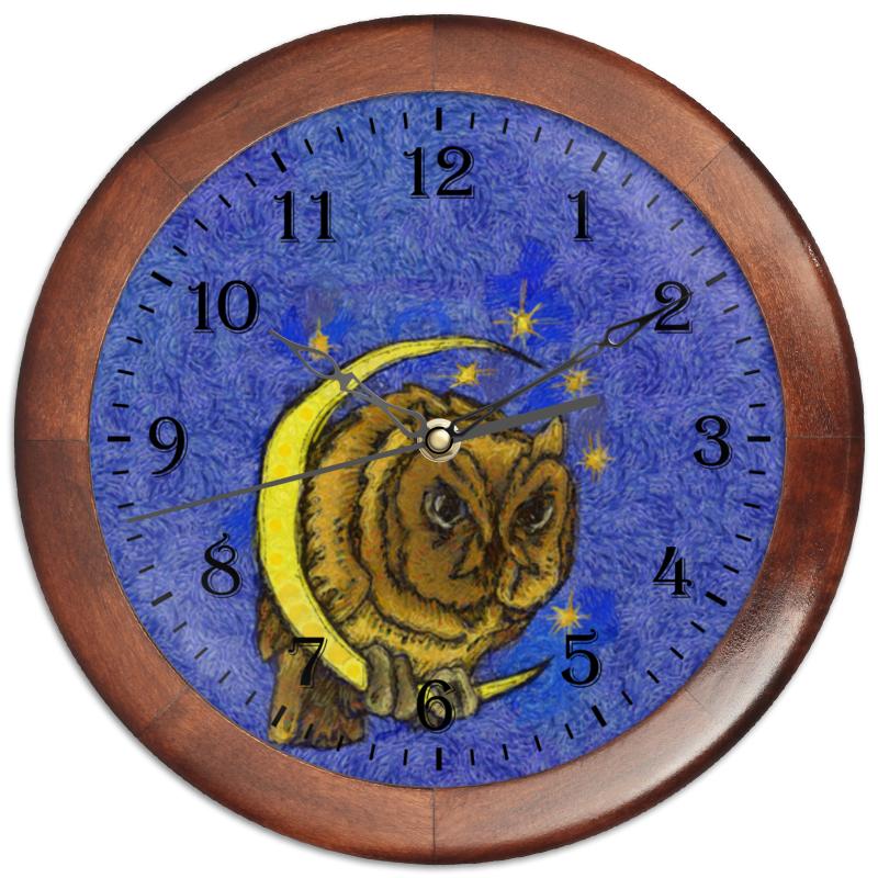 Часы круглые из дерева Printio Сова на луне часы круглые из дерева printio сова в наушниках