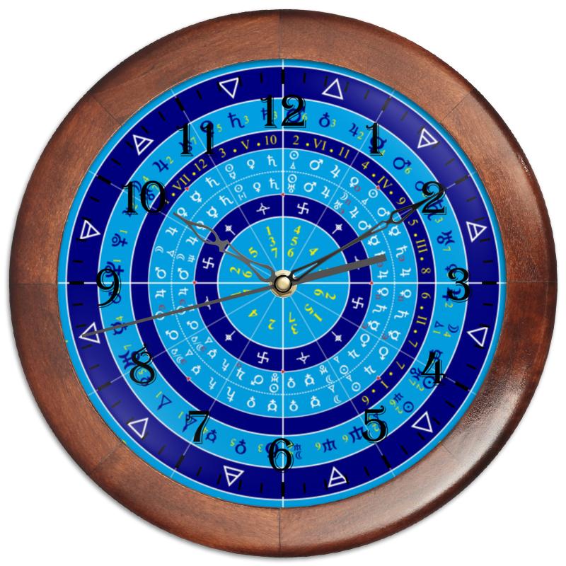 цена на Часы круглые из дерева Printio Зодиакальный круг