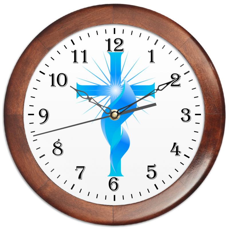 Часы круглые из дерева Printio Христианский крест и священный огонь.