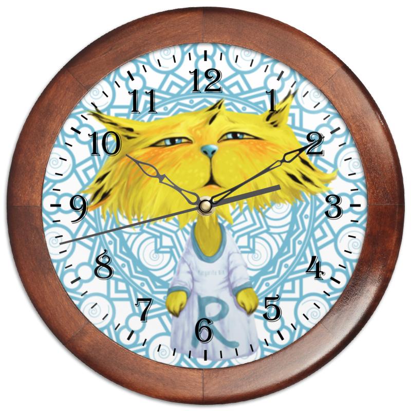 Часы круглые из дерева Printio Рысёнок таранка каждый день 40г
