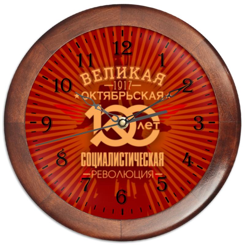 Часы круглые из дерева Printio Октябрьская революция цена и фото