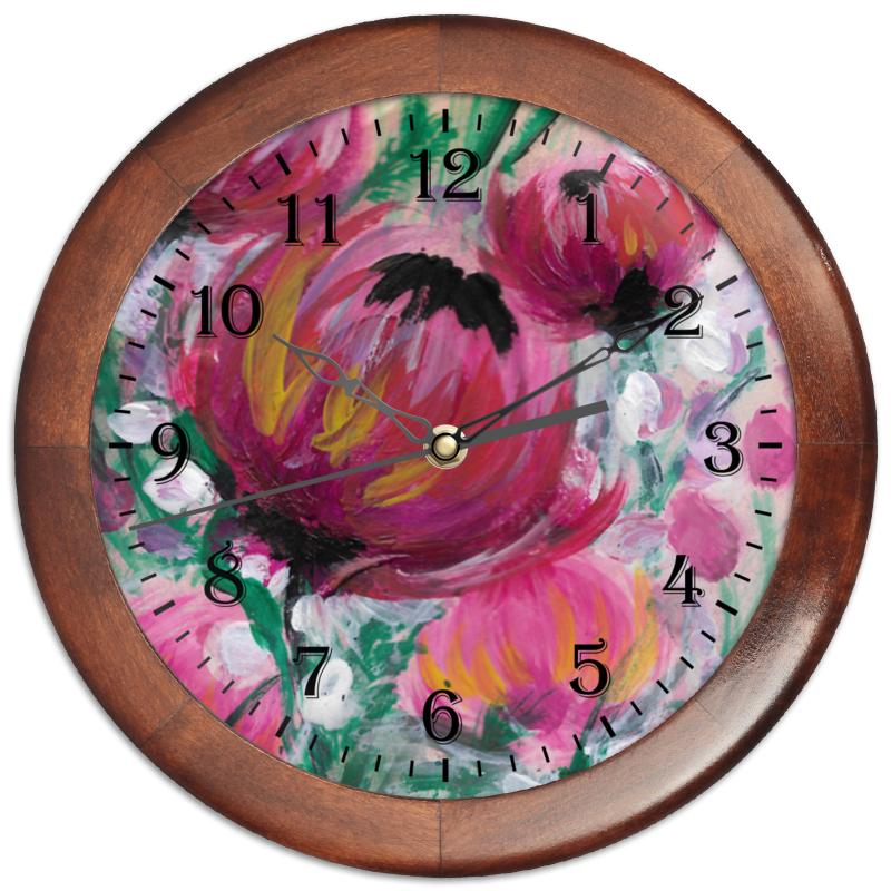 Часы круглые из дерева Printio Полевые цветы
