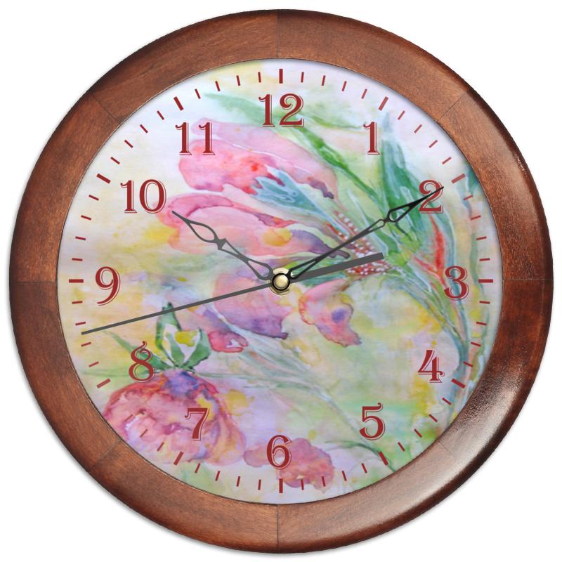 Часы круглые из дерева Printio Мальва. декор
