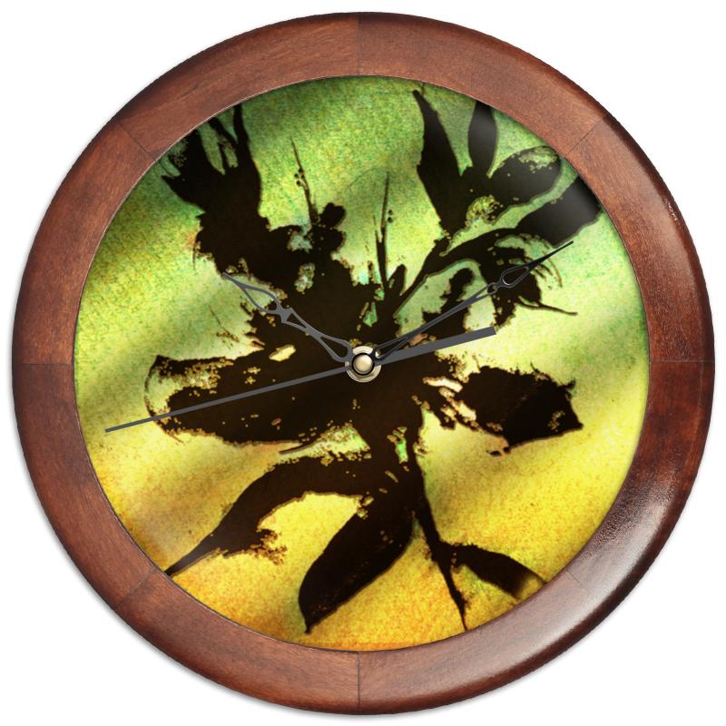 Часы круглые из дерева Printio Цветок. силуэт mayflower майский цветок 3 из бумаги детского мягкого слоя 100 ткани лица откачивают пакет 6 маленький размер