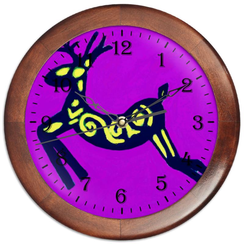 Часы круглые из дерева Printio Олень