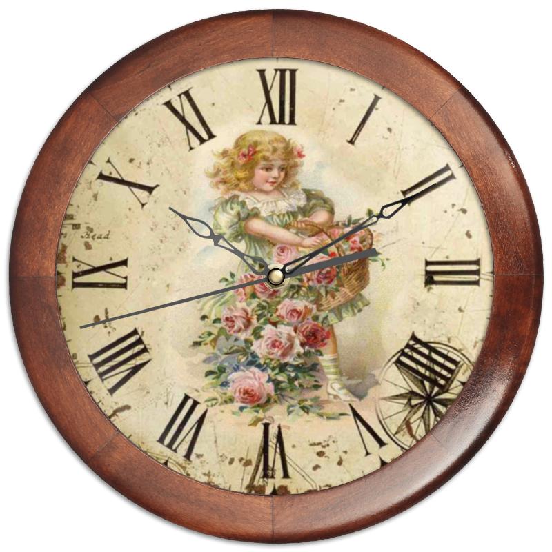 Часы круглые из дерева Printio Девочка с цветами