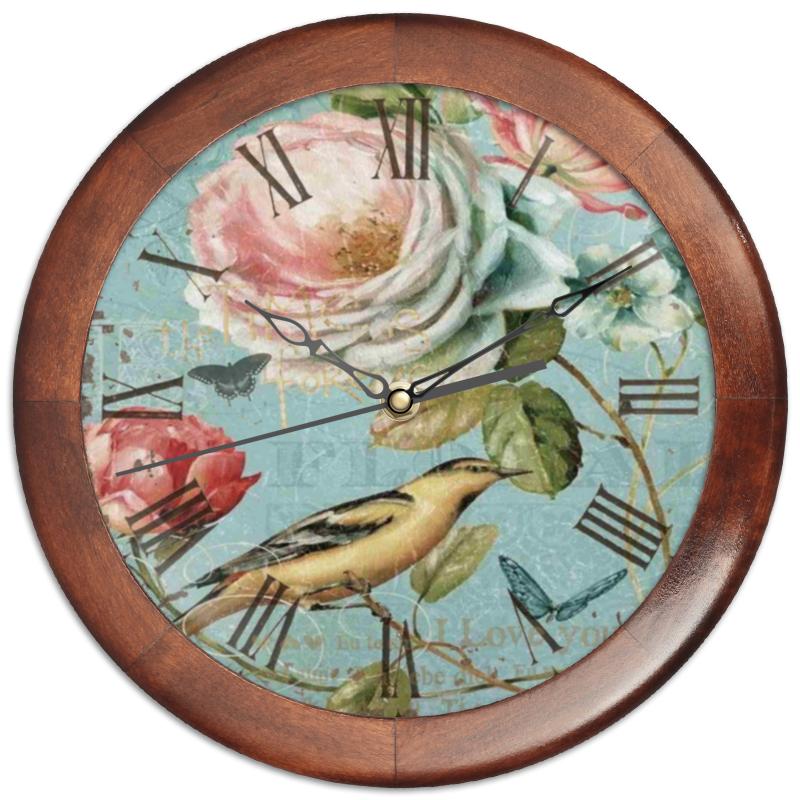 Часы круглые из дерева Printio Птица и цветок
