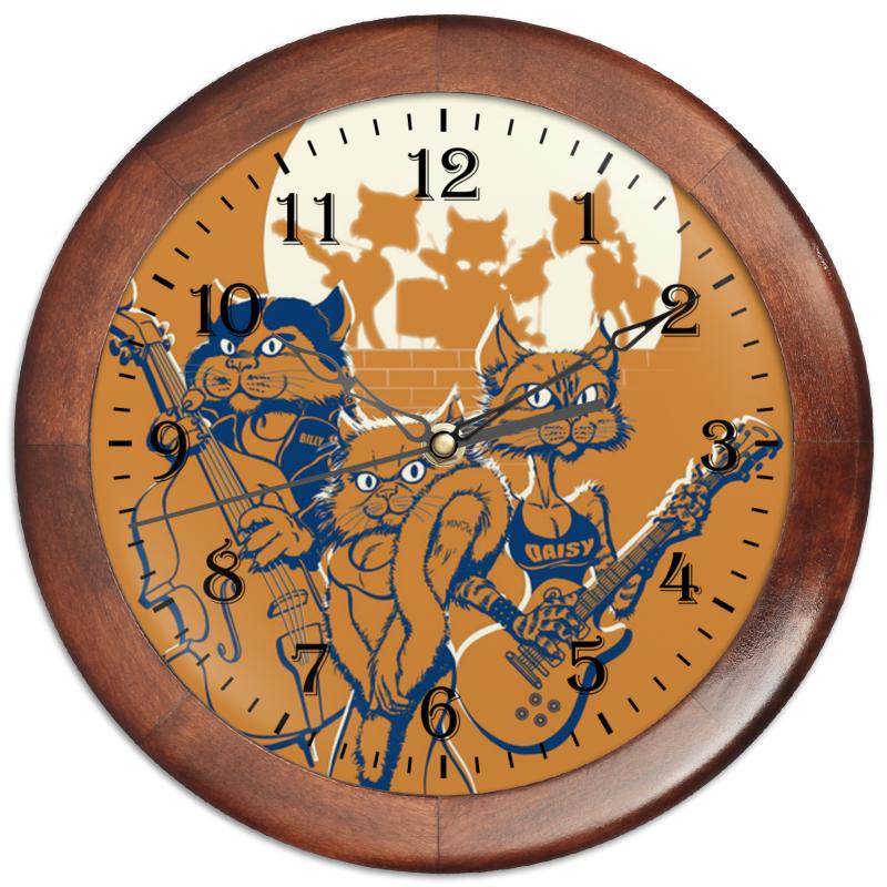 Часы круглые из дерева Printio Кошачий концерт кабошоны из смолы имитации кошачьего глаза плоско круглые разноцветные 12x4 мм