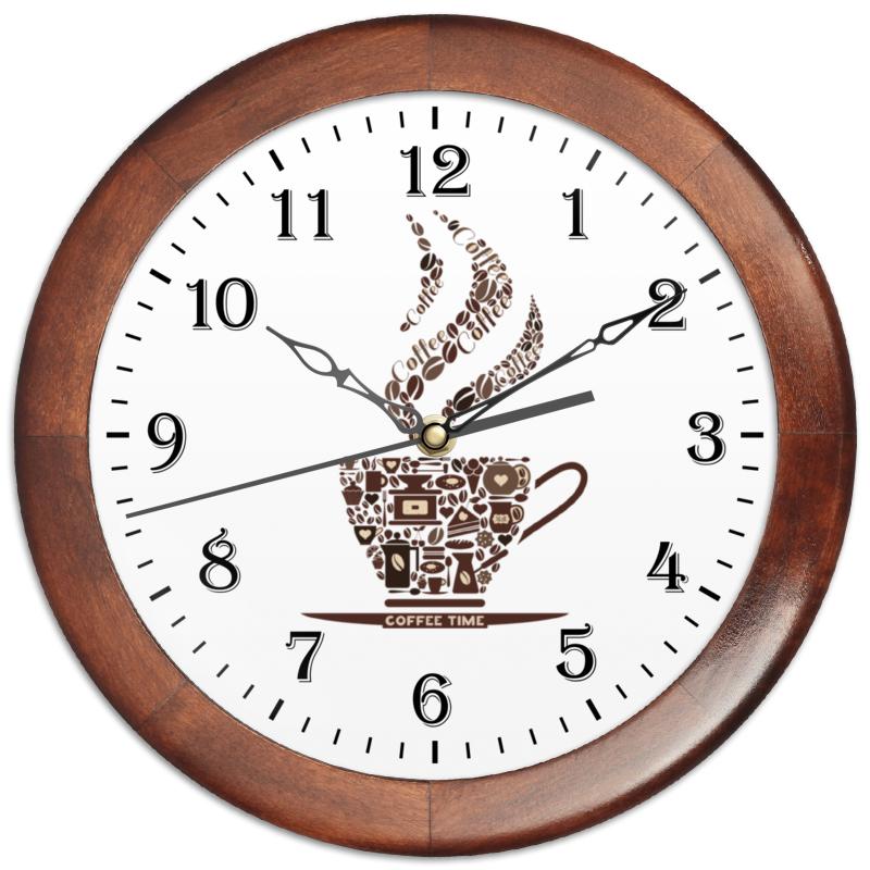 Часы круглые из дерева Printio Кофейные часы из дерева для дома