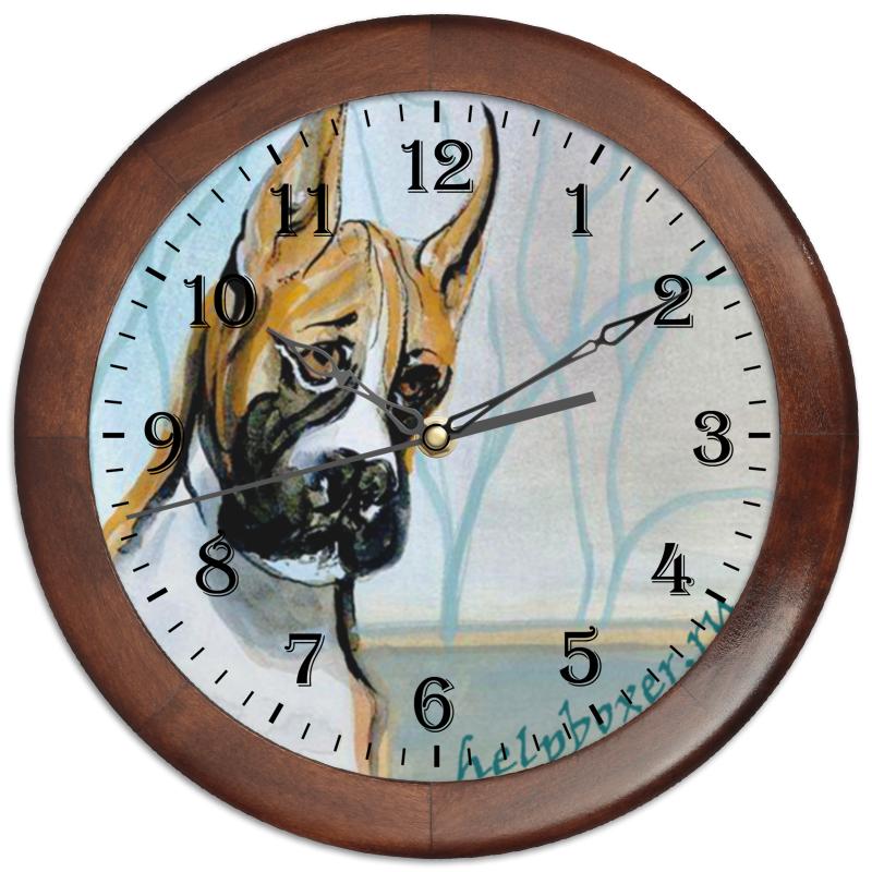 Часы круглые из дерева Printio Boxer
