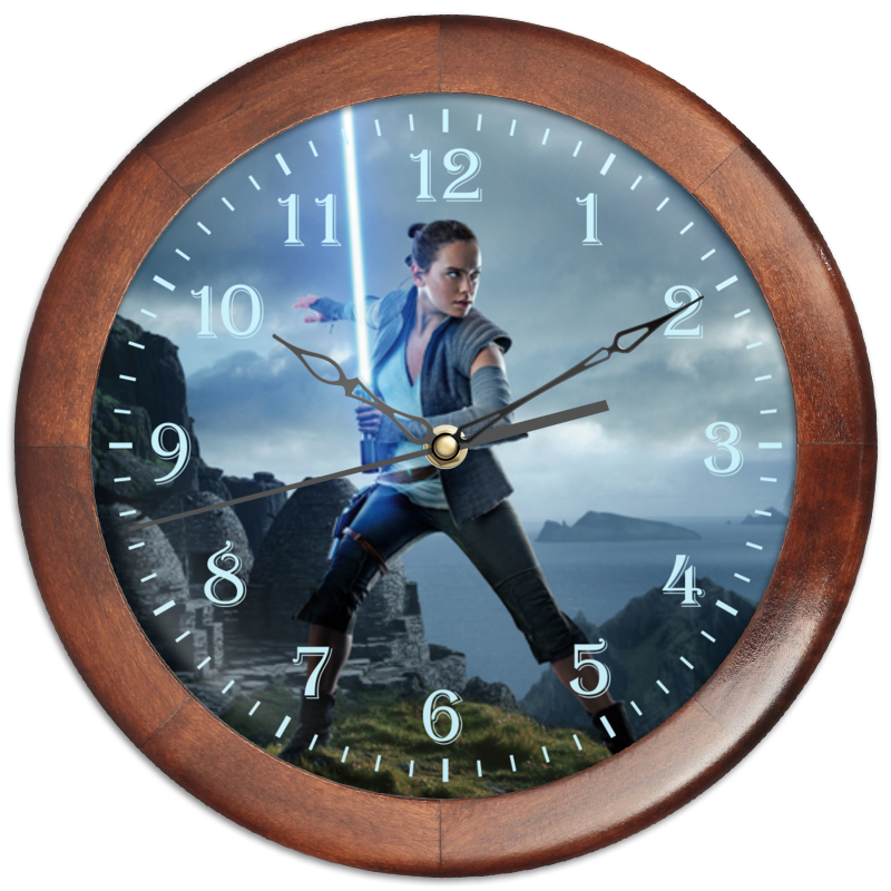 Часы круглые из дерева Printio Звездные войны - рей часы круглые из дерева printio звездные войны по дамерон