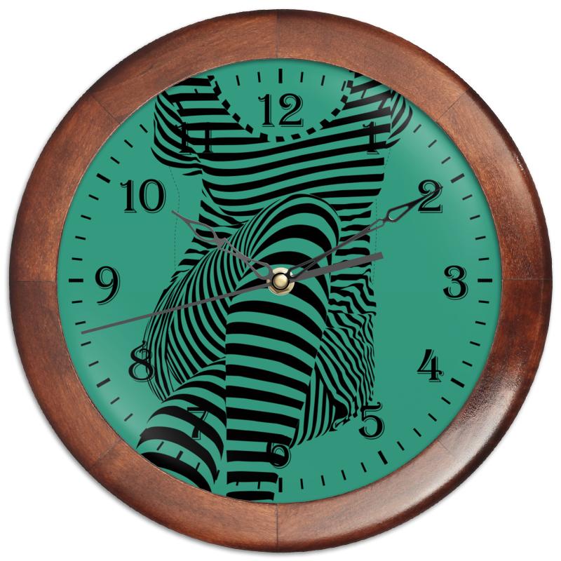 Часы круглые из дерева Printio раздвоение личности