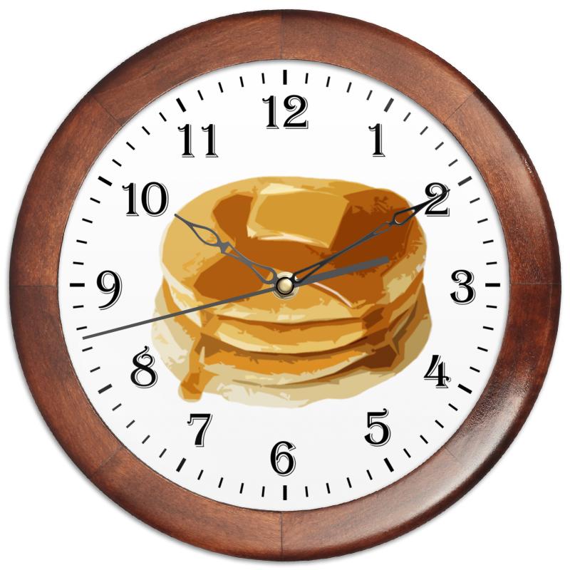 Часы круглые из дерева Printio Блины с маслом блины и блинчики