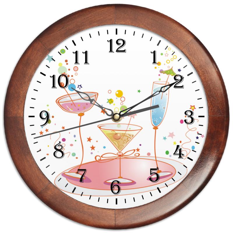 Часы круглые из дерева Printio Напитки